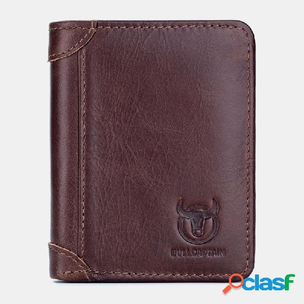 Homens couro genuíno sólidos 9 slots de cartão carteira bolsa