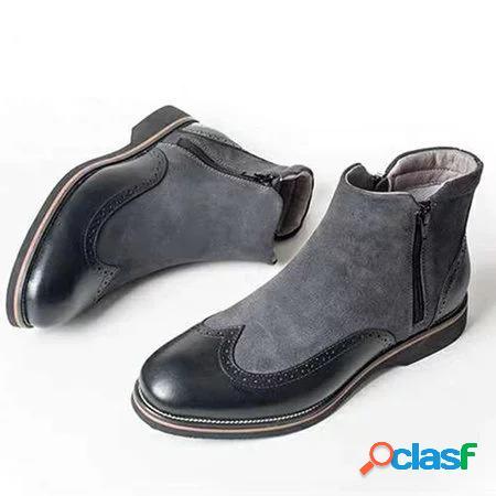 Mulheres tamanho grande splicing cor antiderrapante botas chelsea