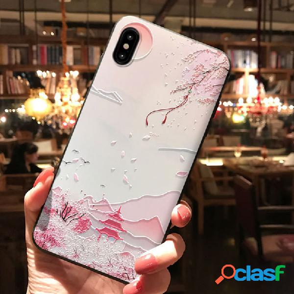Mulheres floral 3d relief estilo chinês tpu telefone caso tampa traseira anti-queda para iphone