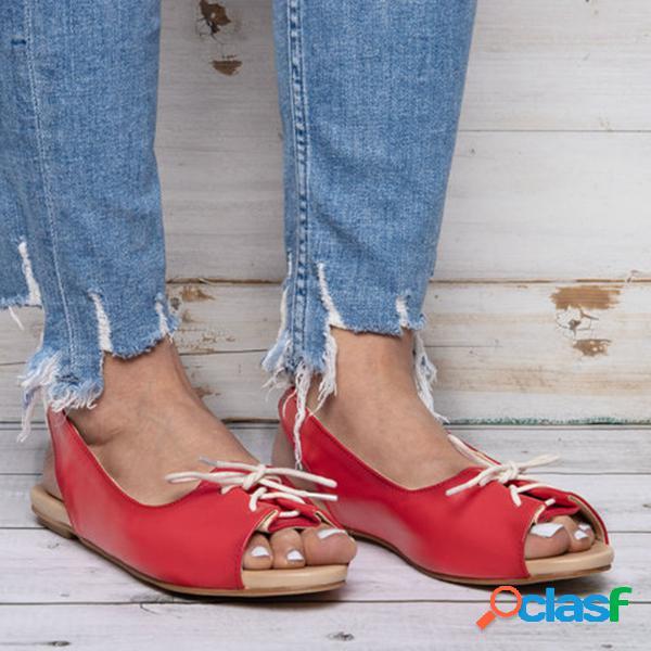 Mulheres tamanho grande lace up peep toe sandálias flat