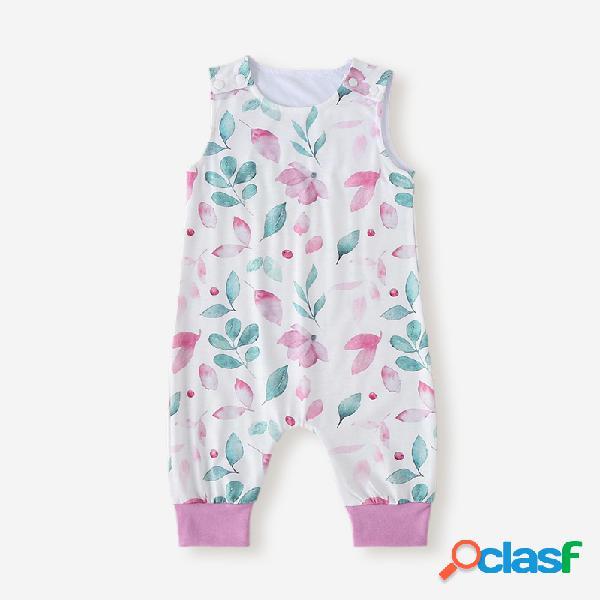 Baby floral print mangas curtas o-pescoço macacão casual para 6-24m