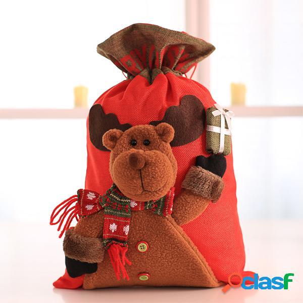 Grande natal papai noel saco de boneco de neve crianças natal presentes doces saco de meia
