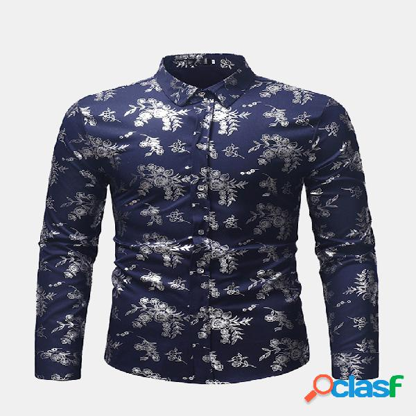 Mens hot stamping base print shirts casual stand collar manga comprida slim fit shirt