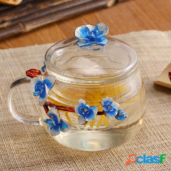 Esmalte de flores elegante vidro chá pote resistente ao calor copo de chá azul amarelo cor