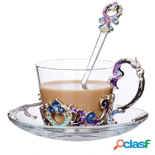 Presentes de vidro de drinkware da caneca de café do copo de chá da flor do esmalte
