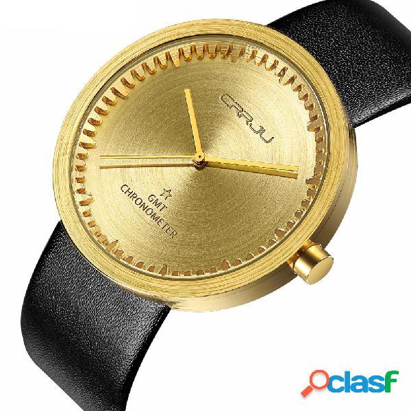 Relógio de homens de cronógrafo de estilo casual relógio de pulseira de couro relógios de quartzo relógio à prova d'água