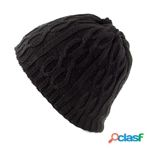 Mens de veludo de lã de malha chapéu inverno grosso do vintage casual orelha pescoço cachecol quente gorro duplo uso