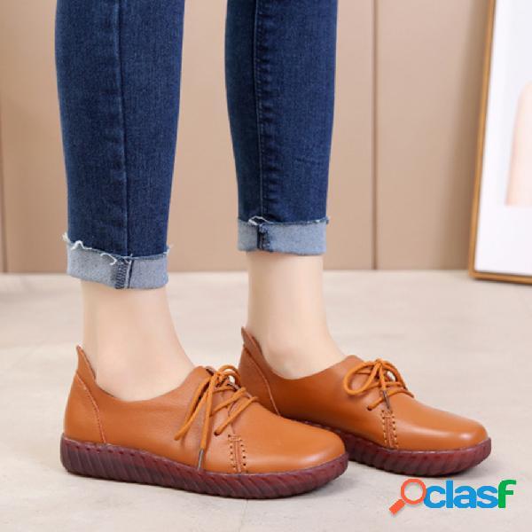 Tamanho grande mulheres comfy macio couro genuíno cor sólida lace up sapatos rasos