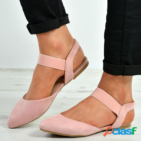 Tamanho grande mulheres casuais leve fechado dedo do pé elástico banda sandálias de apartamentos
