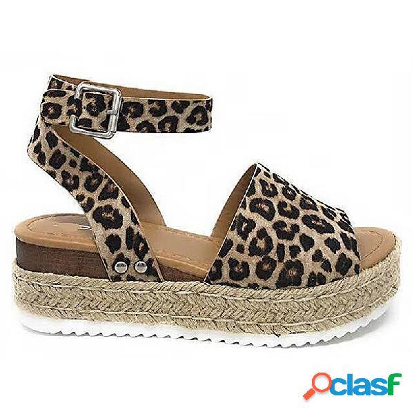 Tamanho grande mulheres verão leopardo peep toe tornozelo fivela sandálias plataforma