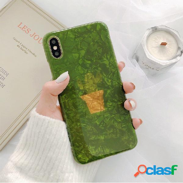 Mulheres ins shell verde planta estilo telefone caso para iphone8plus / 7p / 6s iphone xs max / xr