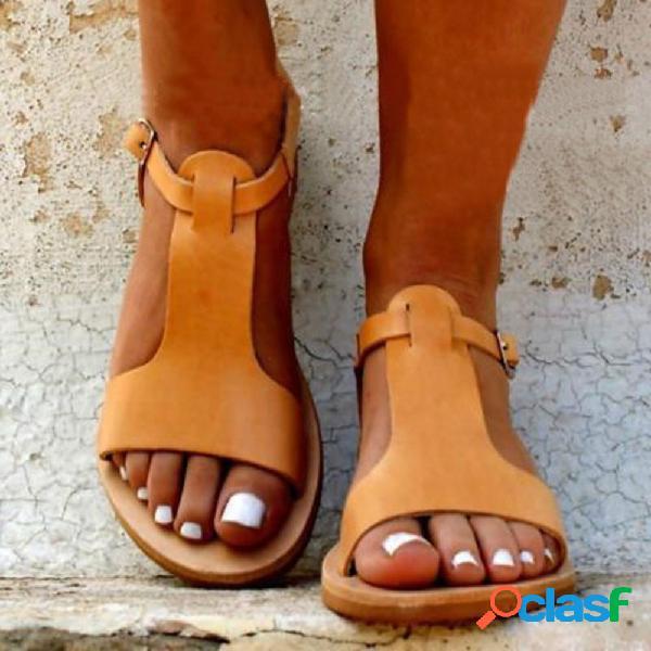Tamanho grande mulheres casual peep toe fivela sandálias planas de cor sólida