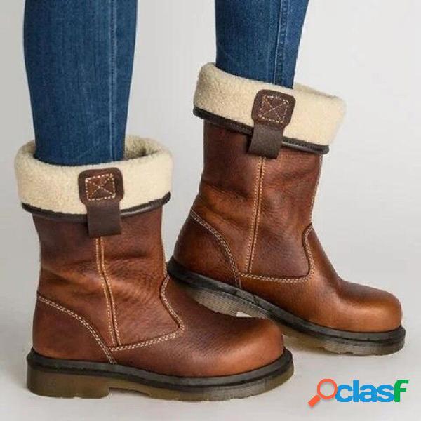 Dedo do pé redondo retro dobrável que costura botas meados de do cavaleiro da vitela