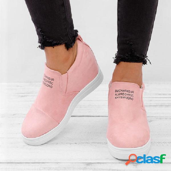 Tamanho grande mulheres diariamente conforto camurça altura aumentou deslizamento em botas curtas planas