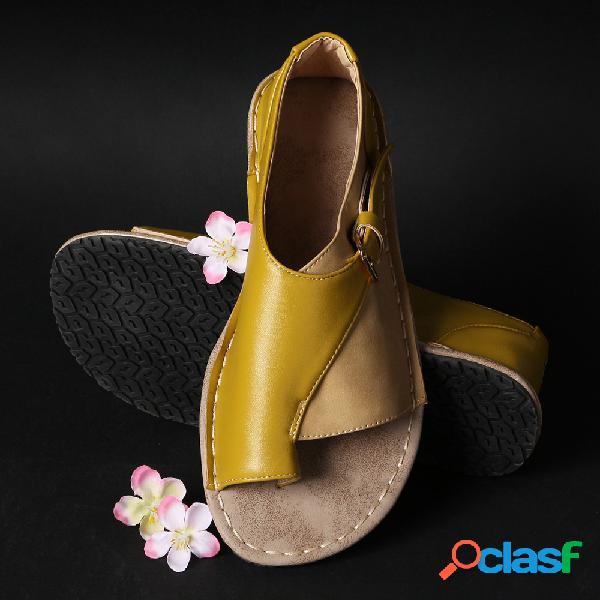Mulheres de tamanho grande retro cor emenda fivela chinelos sandálias planas
