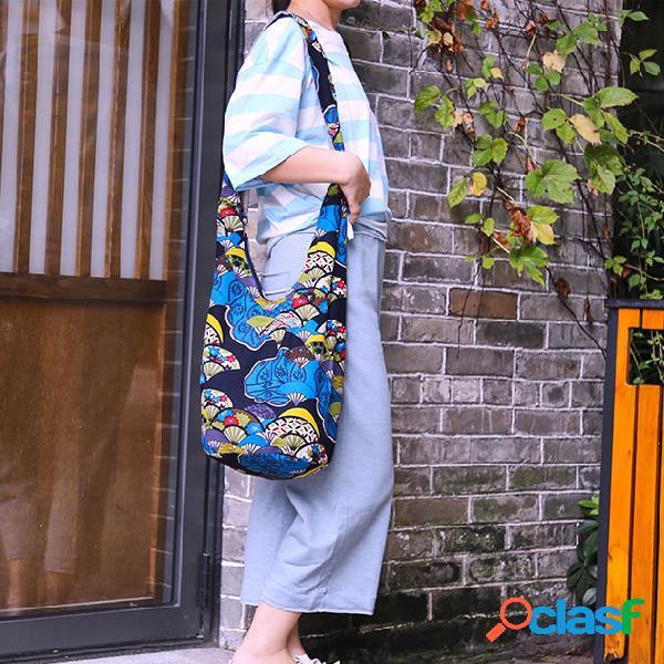 Mulheres estilo nacional impresso art crossbody algodão bolsa ombro bolsa