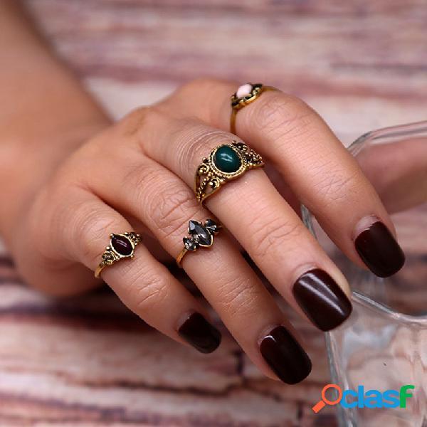 A junta verde profunda retro da gema soa o anel do estilo do vintage de 4 partes para mulheres