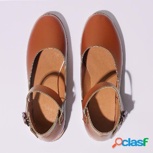 Tamanho grande mulheres retro cor sólida rodada toe fivela sapatos baixos