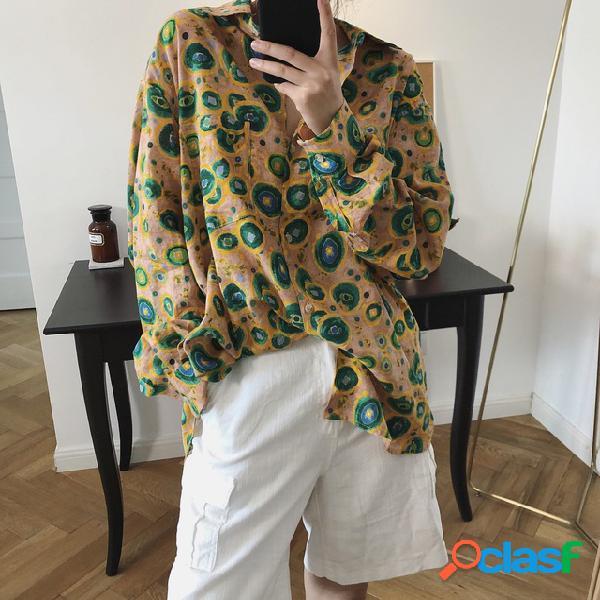 O porto retro camisa do porto que imprime o feriado do ponto barato frouxamente a protecção solar camisa mulheres