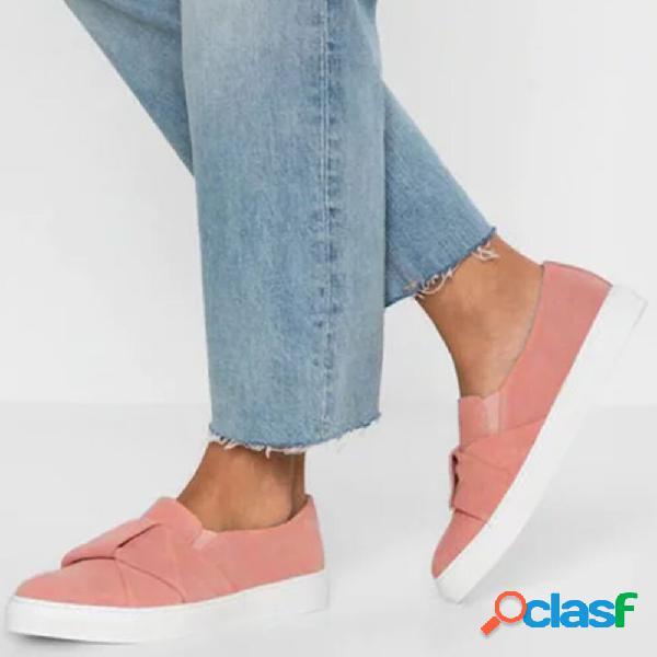 Tamanho grande mulheres casual confortável deslizamento de cor sólida em loafers
