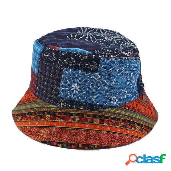 Homens mulheres vintage velho imprimir pescador chapéu cap frente viseira estilo nacional