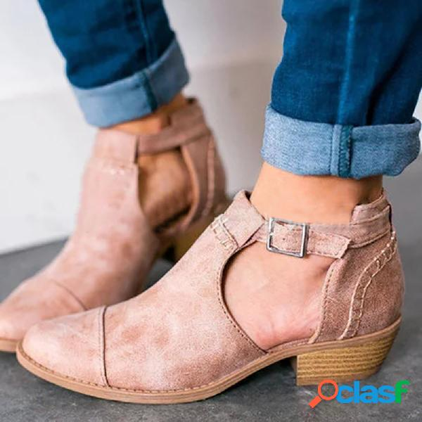 Tamanho grande mulheres apontou toe oco fivela chunky heel único ankle boots