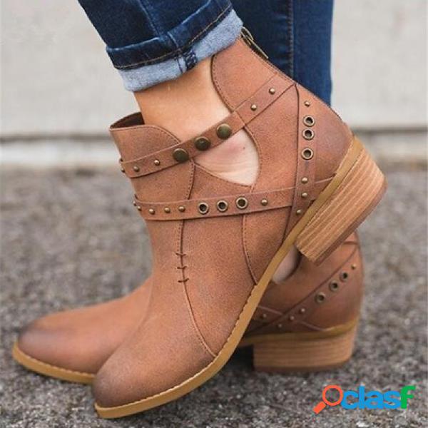 Tamanho grande mulheres inverno apontou toe zipper botas curtas de salto baixo