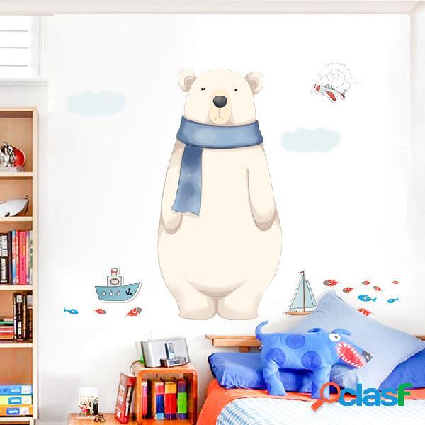Miico 2 pcs adesivo de parede dos desenhos animados bonito urso polar impressão quarto de crianças decoração do jardim de infância adesivos