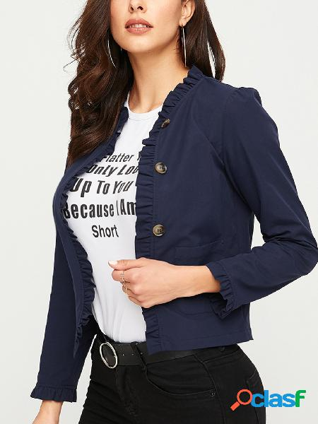 Yoins navy button front side pocket design casaco