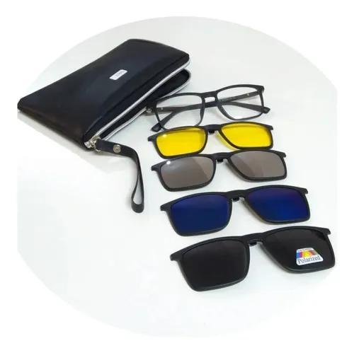 Armação óculos grau sol clip on polarizado espelhado 9