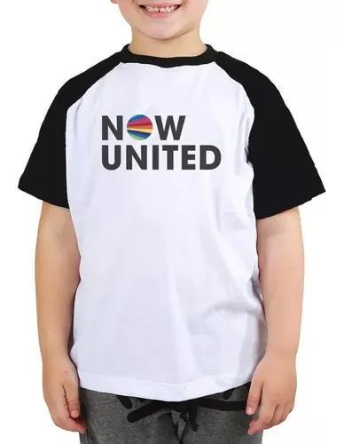 Camiseta now united infantil criança musica pop raglan