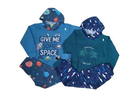 Kit 04 conjuntos moletom menino inverno infantil crianças