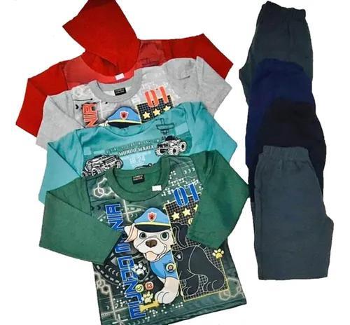 Kit 04 conjuntos moletom meninos crianças infantil inverno