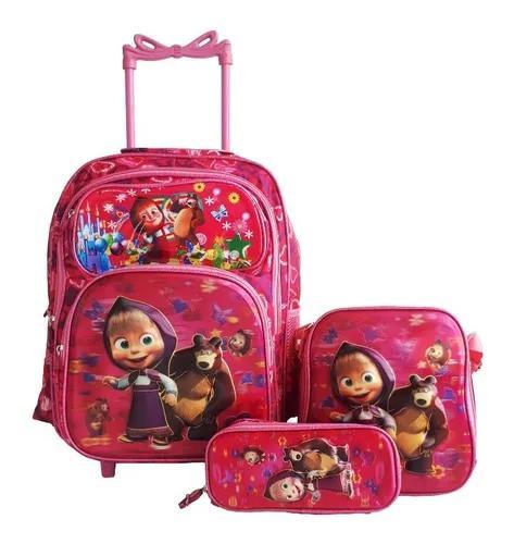 Kit mochila escolar de rodinha urso e marsha +estojo+lanchei
