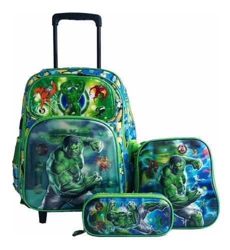 Kit mochila infantil increível hulk lancheira e estojo 3d