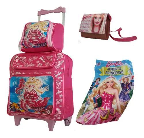 Mochila infantil princesas meninas escolar kit rodinhas g