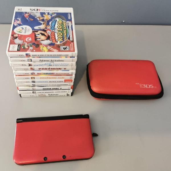 Nintendo 3ds xl + 11 jogos + capa protetora