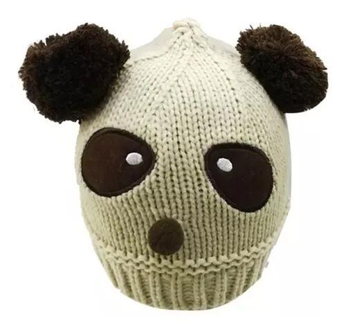 Touca de lã bichinho infantil crianças inverno urso panda