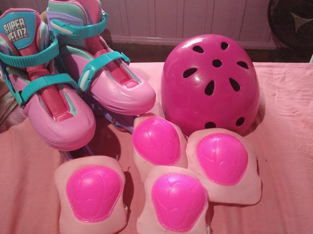 Kit patins ajustável- rosa 35/37