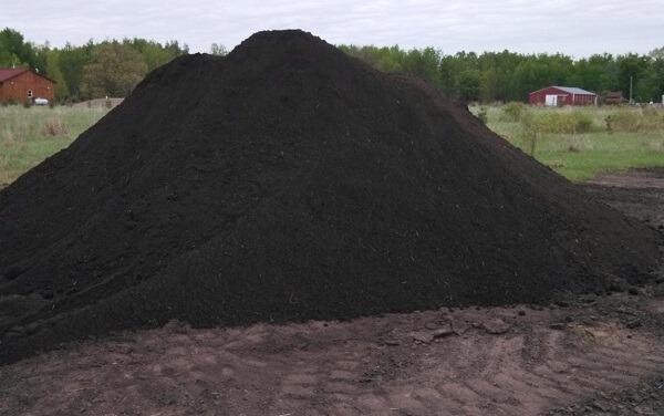 Terra preta bruta, terra preta peneirada e grama são carlos