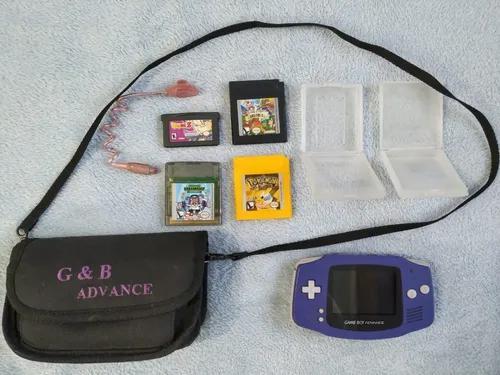 Game boy advance, 4 jogos (pokémon yellow) originais, bag,
