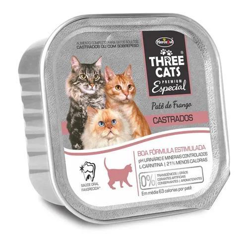 12 marmitinhas - threecats gatos castrados pate frango (cast