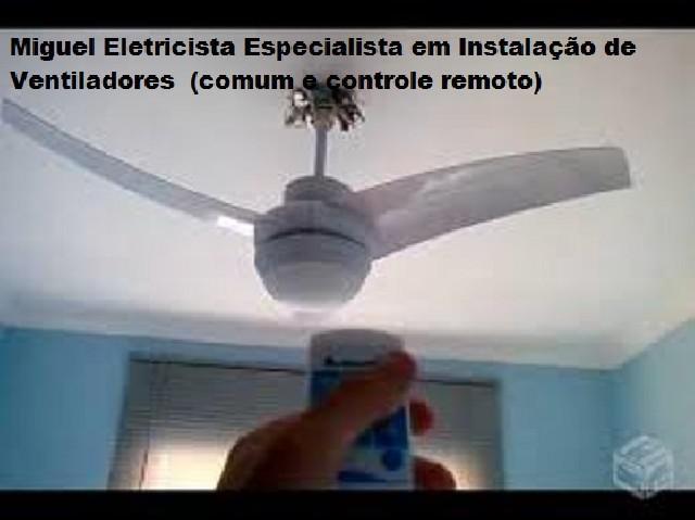 Instalação: ventiladores comum e controle remoto