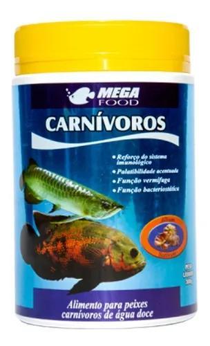 Ração peixes carnivoros superficie mega food 300g c/alho
