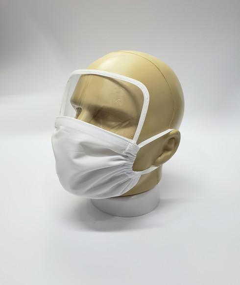 1 máscara de proteção em tecido branca com 1 visor em