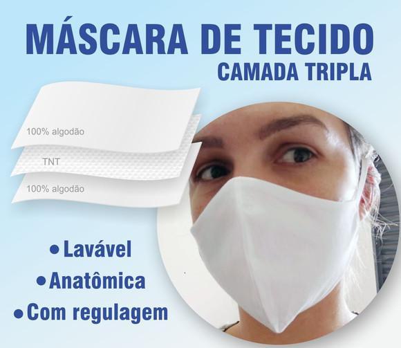 10 máscaras em tecido lavável (tripla proteção) brancas