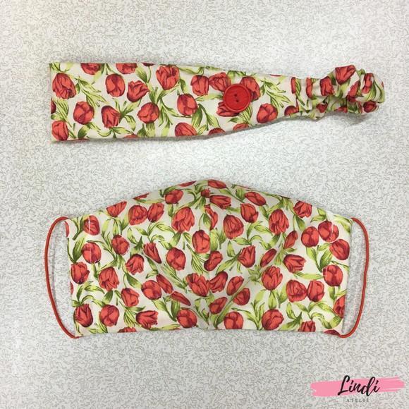 Kit máscara de tecido com tiara