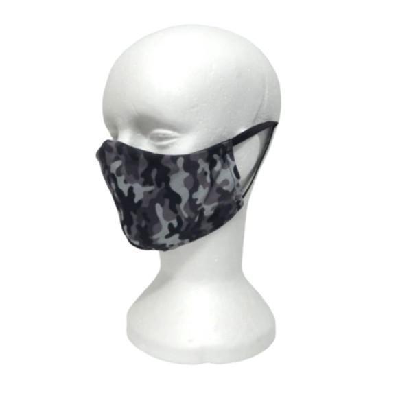 Mascara camuflada cinza tecido estampa militar exército