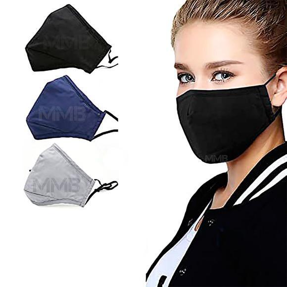 Máscara de pano reutilizável dupla camada - 3 pçs