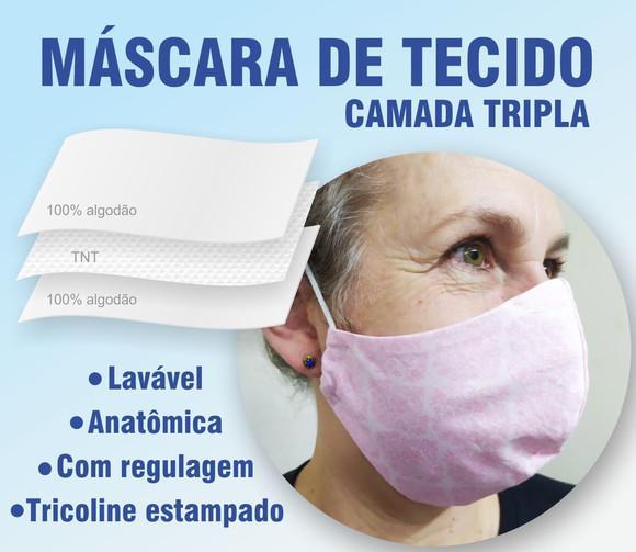 Máscara em tecido Lavável (tripla proteção) Rosa